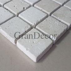 Декоративная мозаика  белая Квадрат из травертина