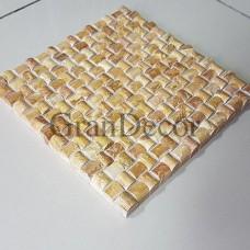 Декоративная мозаика из бежевого травертина Персефона