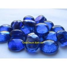 Синие декоративные камни стеклянные